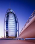 The famed Burj Al-Arab by sunset
