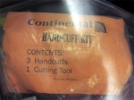 Foreskin Press continental airlines inflight menu customer service handcuff kit